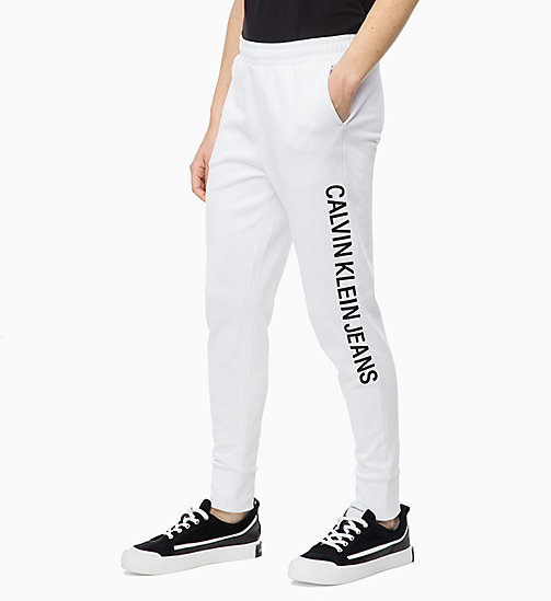 CALVIN KLEIN JEANS Joggingbroek met logo - BRIGHT WHITE - CALVIN KLEIN JEANS IN THE THICK OF IT FOR HER - main image