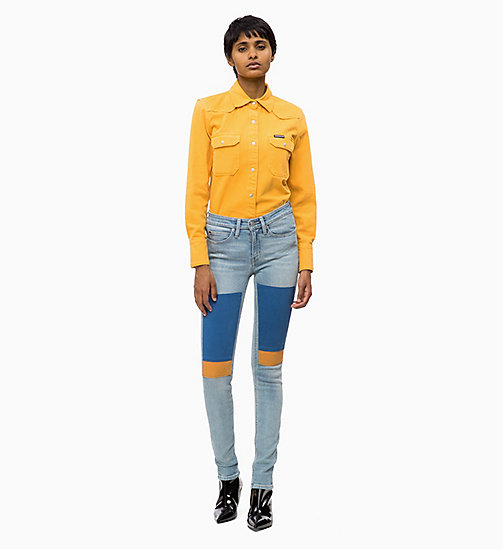 CALVIN KLEIN JEANS CKJ 011 Mid Rise Skinny Patched Jeans - GEELONG BLUE PATCH - CALVIN KLEIN JEANS DENIM SHOP - dettaglio immagine 1