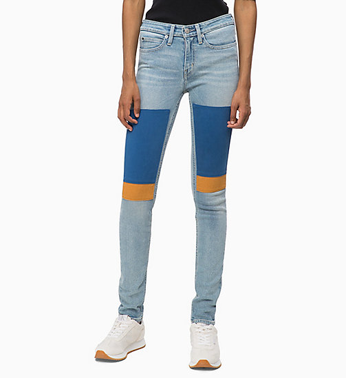 CALVIN KLEIN JEANS CKJ 011 Mid Rise Skinny Patched Jeans - GEELONG BLUE PATCH - CALVIN KLEIN JEANS DENIM SHOP - main image