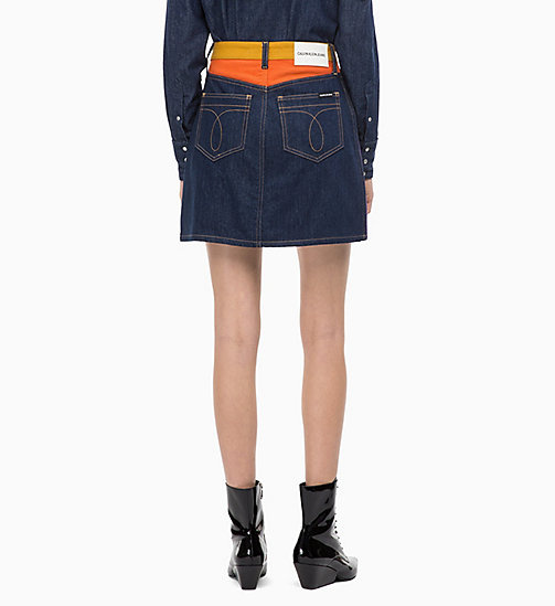 CALVIN KLEIN JEANS High Rise Denim Mini Skirt - UKELELY PATCH - CALVIN KLEIN JEANS FALL DREAMS - detail image 1
