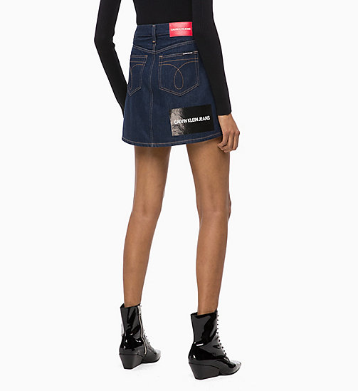 CALVIN KLEIN JEANS High Rise Denim Logo Mini Skirt - RINSE - CALVIN KLEIN JEANS NEW ICONS - detail image 1