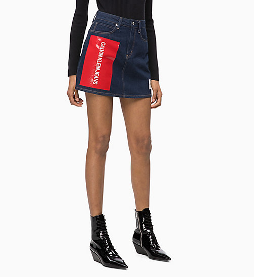 CALVIN KLEIN JEANS High Rise Denim Logo Mini Skirt - RINSE -  NEW ICONS - main image