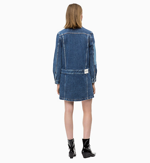 CALVIN KLEIN JEANS Patched Denim Trucker Dress - DELTA BLUE - CALVIN KLEIN JEANS NEW ICONS - detail image 1