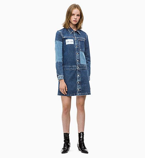 CALVIN KLEIN JEANS Patched Denim Trucker Dress - DELTA BLUE - CALVIN KLEIN JEANS NEW ICONS - main image