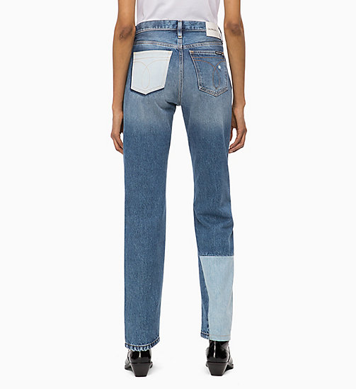 CALVIN KLEIN JEANS CKJ 030 High Rise Straight Patched Jeans - SHANON BLUE -  NEW ICONS - detail image 1