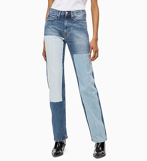 CALVIN KLEIN JEANS CKJ 030 High Rise Straight Patched Jeans - SHANON BLUE -  NEW ICONS - main image