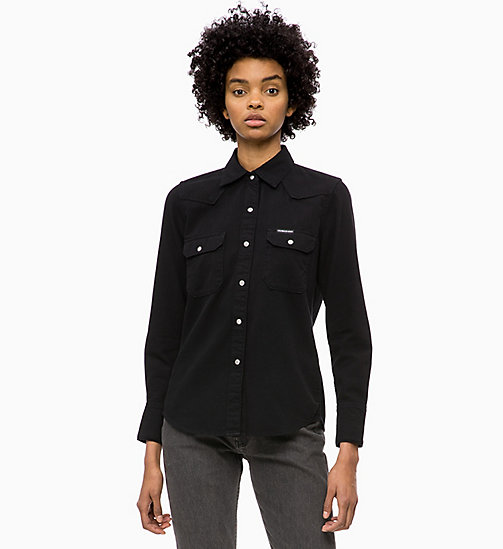 CALVIN KLEIN JEANS Western Denim Shirt - BUCKAREST BLACK - CALVIN KLEIN JEANS DENIM SHOP - main image
