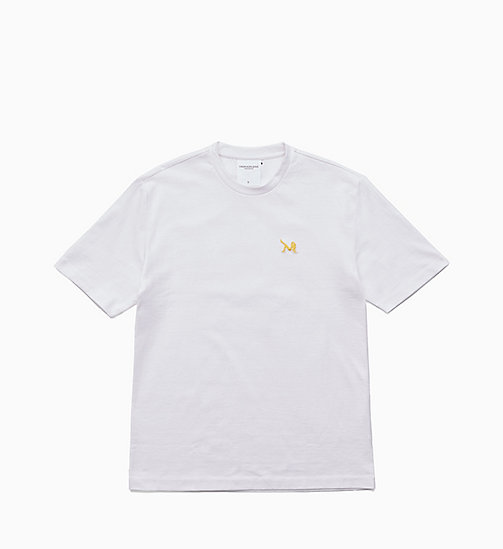 CALVIN KLEIN JEANS Icon Embroidered T-shirt - BRIGHT WHITE / YELLOW - CALVIN KLEIN JEANS TOPS - main image