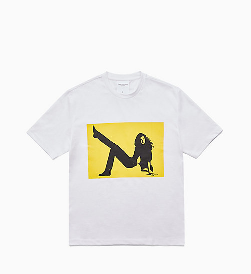 CALVIN KLEIN JEANS Icon Printed T-shirt - BRIGHT WHITE / YELLOW - CALVIN KLEIN JEANS TOPS - main image