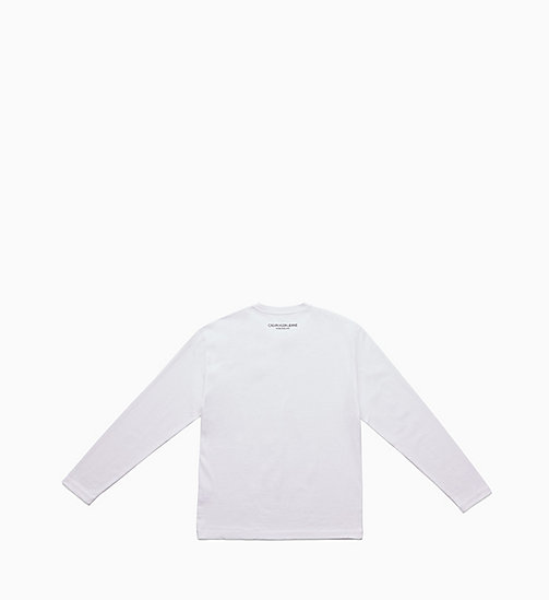 CALVIN KLEIN JEANS Icon Embroidered Long Sleeve T-shirt - BRIGHT WHITE / CK BLACK - CALVIN KLEIN JEANS TOPS - detail image 1