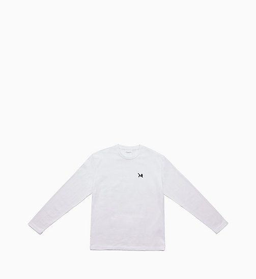 CALVIN KLEIN JEANS Icon Embroidered Long Sleeve T-shirt - BRIGHT WHITE / CK BLACK - CALVIN KLEIN JEANS TOPS - main image