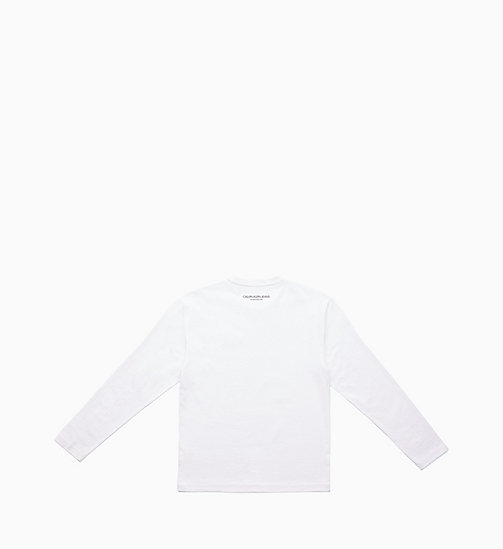 CALVIN KLEIN JEANS Icon Embroidered Long Sleeve T-shirt - BRIGHT WHITE / YELLOW - CALVIN KLEIN JEANS TOPS - detail image 1