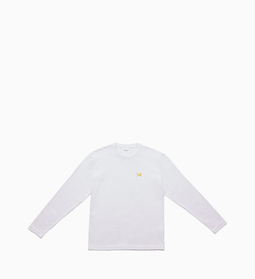 CALVIN KLEIN JEANS Icon Embroidered Long Sleeve T-shirt - BRIGHT WHITE / YELLOW - CALVIN KLEIN JEANS TOPS - main image