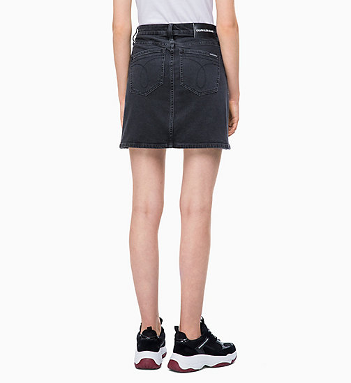 CALVIN KLEIN JEANS High Rise Denim Mini Skirt - ALLIS BLACK - CALVIN KLEIN JEANS DRESSES & SKIRTS - detail image 1