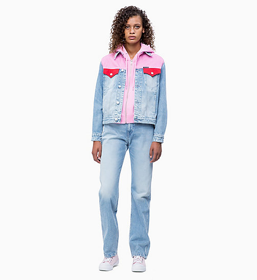 CALVIN KLEIN JEANS Colour Block Denim Trucker Jacket - MOHONK LIGHT PINK BLOCKED - CALVIN KLEIN JEANS NEW IN - detail image 1