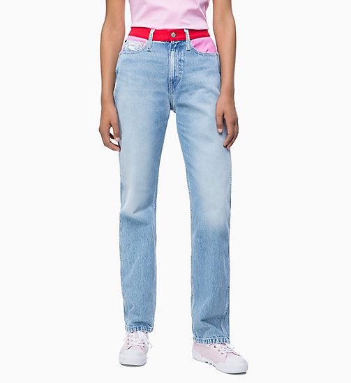 CALVIN KLEIN JEANS CKJ 030 High Rise Straight Blocked Jeans - MOHONK LIGHT PINK BLOCKED - CALVIN KLEIN JEANS NEW IN - main image