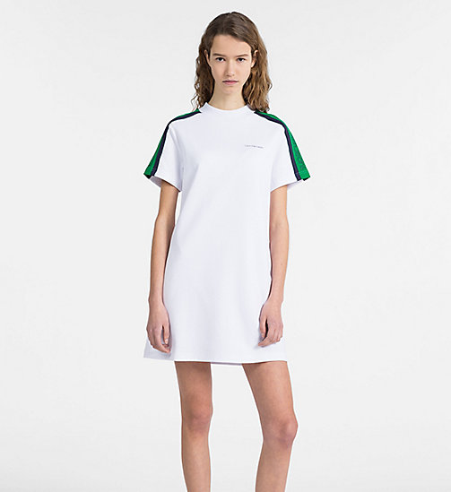 CALVIN KLEIN JEANS Short-Sleeve Track Dress - BRIGHT WHITE - CALVIN KLEIN JEANS CALVIN KLEIN JEANS CAPSULE - main image