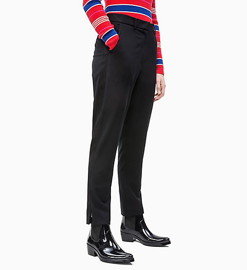 CALVIN KLEIN JEANS Side-Stripe Twill Trousers - CK BLACK - CALVIN KLEIN JEANS TROUSERS & SHORTS - main image