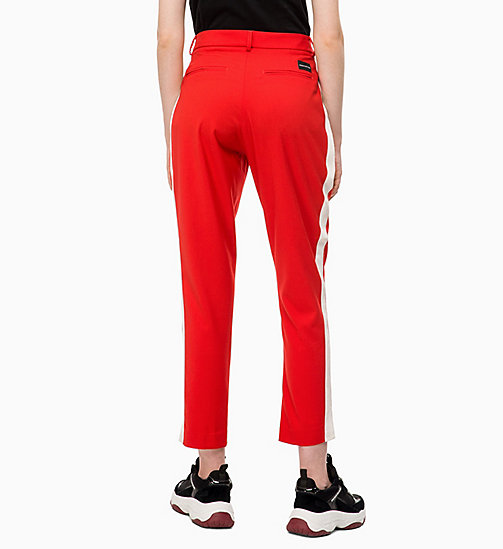 CALVIN KLEIN JEANS Side-Stripe Twill Trousers - RACING RED - CALVIN KLEIN JEANS TROUSERS & SHORTS - detail image 1