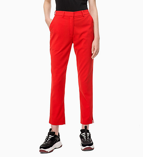 CALVIN KLEIN JEANS Side-Stripe Twill Trousers - RACING RED - CALVIN KLEIN JEANS TROUSERS & SHORTS - main image
