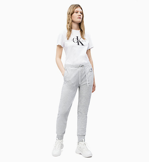 ... CALVIN KLEIN JEANS Pantalon de jogging en tissu éponge de coton - LIGHT  GREY HEATHER - 36578bad5e42