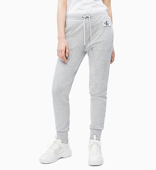 CALVIN KLEIN JEANS Cotton Terry Joggers - LIGHT GREY HEATHER - CALVIN KLEIN JEANS JOGGING BOTTOMS - main image