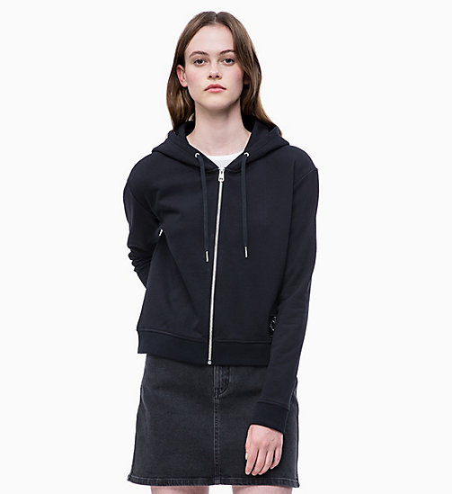 CALVIN KLEIN JEANS Boxy Zip-Through Hoodie - CK BLACK - CALVIN KLEIN JEANS LOGO SHOP - main image
