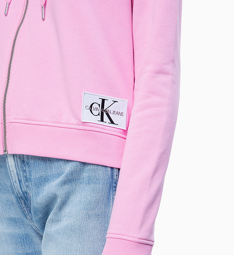 CALVIN KLEIN JEANS Zip-Through Hoodie - STRAWBERRY CREAM - CALVIN KLEIN JEANS UNDERWEAR - detail image 2