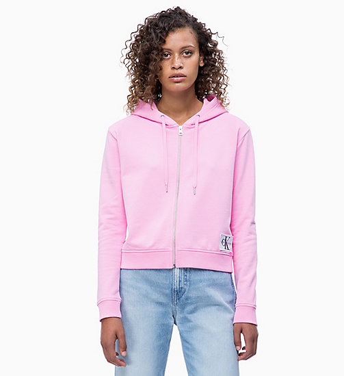 CALVIN KLEIN JEANS Boxy Zip-Through Hoodie - BEGONIA PINK - CALVIN KLEIN JEANS NEW IN - main image