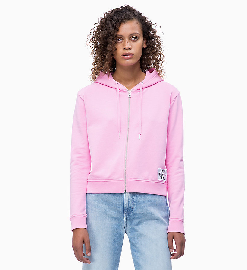 CALVIN KLEIN JEANS Zip-Through Hoodie - STRAWBERRY CREAM - CALVIN KLEIN JEANS UNDERWEAR - main image