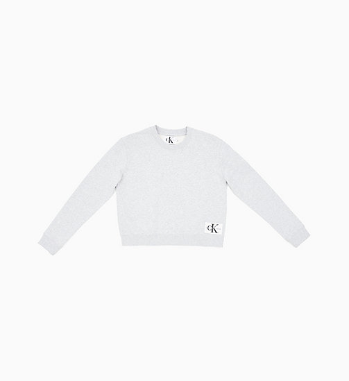 87996b9fd0449 CALVIN KLEIN JEANS Sweat-shirt Boxy avec insigne avec logo - LIGHT GREY  HEATHER ...