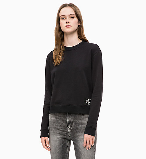 -30% CALVIN KLEIN JEANS Sweat-shirt Boxy avec insigne avec logo - CK BLACK  - CALVIN ... d1a09478c6b7