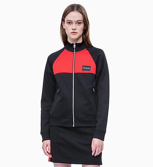CALVIN KLEIN JEANS Trainingsjacke in Blockfarbendesign - CK BLACK/RACING RED - CALVIN KLEIN JEANS NEW IN - main image