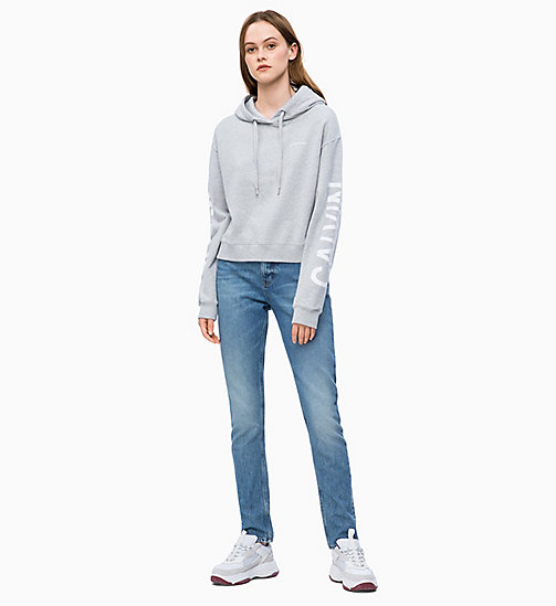 CALVIN KLEIN JEANS Cropped Logo-Kapuzenpullover - LIGHT GREY HEATHER - CALVIN KLEIN JEANS SWEATSHIRTS - main image 1