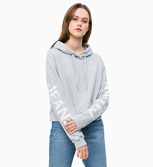 CALVIN KLEIN JEANS Cropped Logo Hoodie - LIGHT GREY HEATHER - CALVIN KLEIN JEANS NEW IN - main image