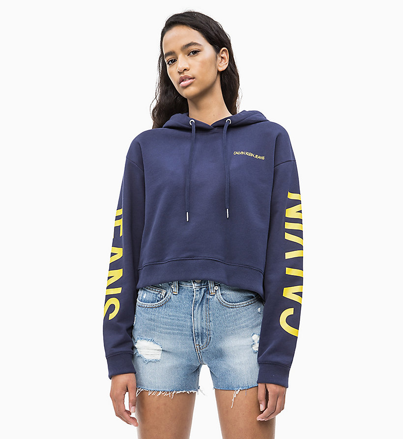 CALVIN KLEIN JEANS Cropped Logo Hoodie - LIGHT GREY HEATHER - CALVIN KLEIN JEANS UNDERWEAR - detail image 1