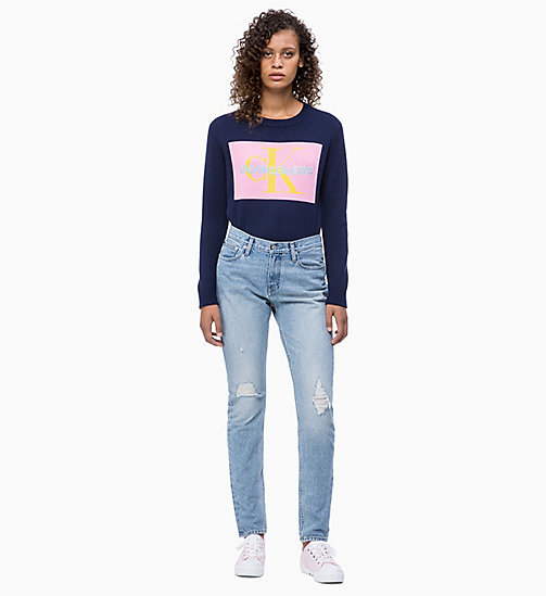 CALVIN KLEIN JEANS Logo Jumper - PEACOAT/BEGONIA PINK - CALVIN KLEIN JEANS NEW IN - detail image 1