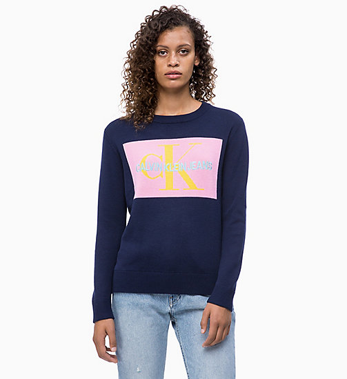 CALVIN KLEIN JEANS Logo Jumper - PEACOAT/BEGONIA PINK - CALVIN KLEIN JEANS NEW IN - main image