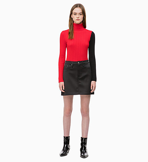 CALVIN KLEIN JEANS Colour Block Turtleneck Jumper - RACING RED/CK BLACK - CALVIN KLEIN JEANS CLOTHES - detail image 1