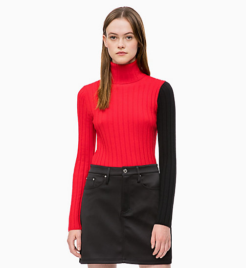CALVIN KLEIN JEANS Colour Block Turtleneck Jumper - RACING RED/CK BLACK - CALVIN KLEIN JEANS CLOTHES - main image