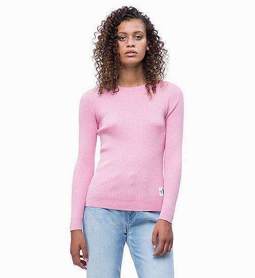CALVIN KLEIN JEANS Cotton Silk Rib-Knit Jumper - BEGONIA PINK - CALVIN KLEIN JEANS NEW IN - main image