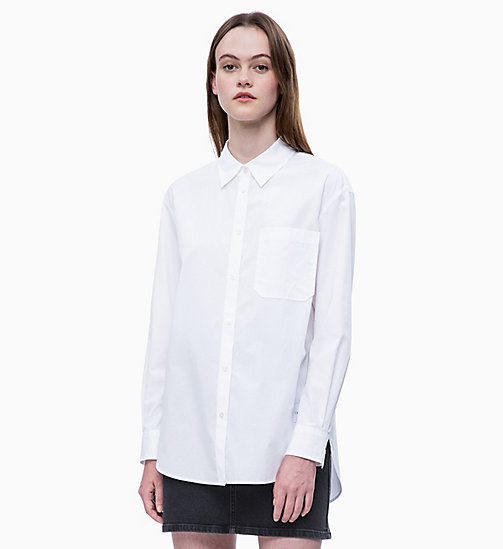 CALVIN KLEIN JEANS Oversized Cotton Poplin Shirt - BRIGHT WHITE - CALVIN KLEIN JEANS SHIRTS & TOPS - main image