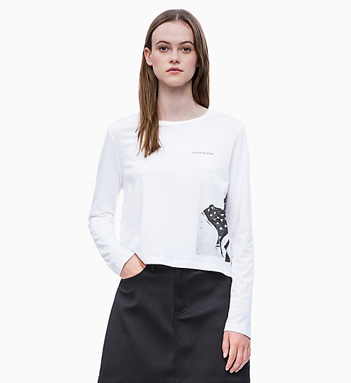 CALVIN KLEIN JEANS Cropped Long Sleeve Flag T-shirt - BRIGHT WHITE - CALVIN KLEIN JEANS NEW IN - main image
