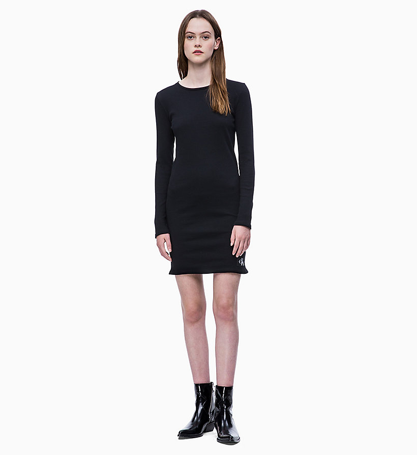 CALVIN KLEIN JEANS Stripe Jersey Long Sleeve Dress - CK BLACK/WHITE - CALVIN KLEIN JEANS WOMEN - main image
