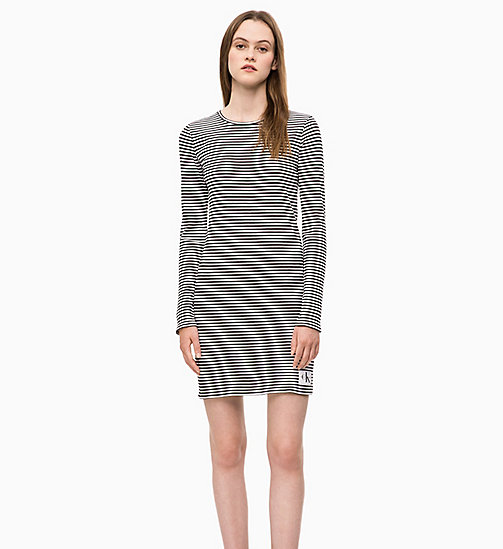 CALVIN KLEIN JEANS Stripe Jersey Long Sleeve Dress - CK BLACK / WHITE - CALVIN KLEIN JEANS NEW IN - main image
