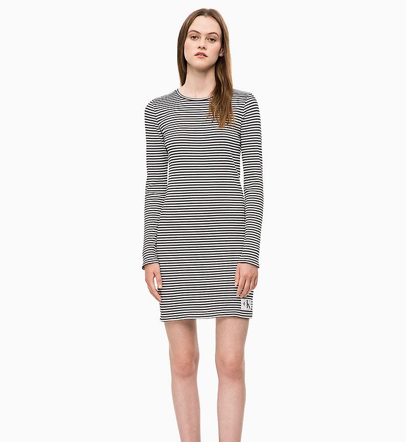 CALVIN KLEIN JEANS Stripe Jersey Long Sleeve Dress - CK BLACK - CALVIN KLEIN JEANS WOMEN - main image