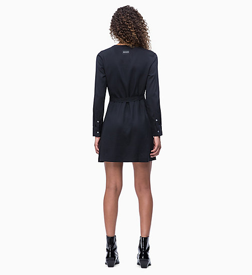 CALVIN KLEIN JEANS Long Sleeve Belted Mini Dress - CK BLACK - CALVIN KLEIN JEANS NEW IN - detail image 1