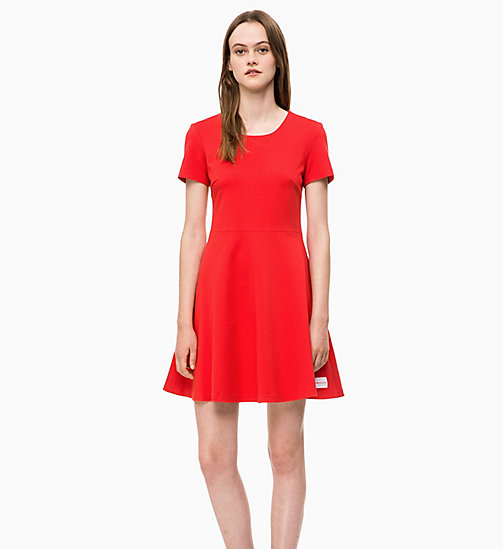 CALVIN KLEIN JEANS Milano Jersey Skater Dress - RACING RED -  NEW IN - main image