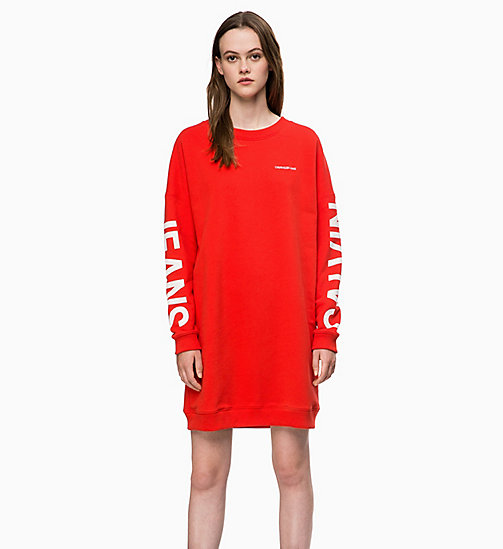 CALVIN KLEIN JEANS Logo Sweatshirt Dress - RACING RED - CALVIN KLEIN JEANS LOGO SHOP - main image