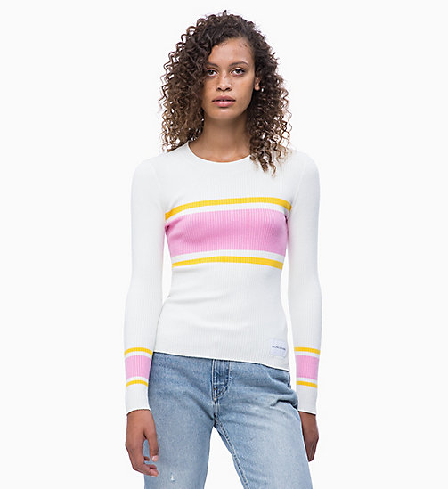 CALVIN KLEIN JEANS Cotton Silk Stripe Jumper - BRIGHT WHITE/LEMON/BEGONIA - CALVIN KLEIN JEANS NEW IN - main image